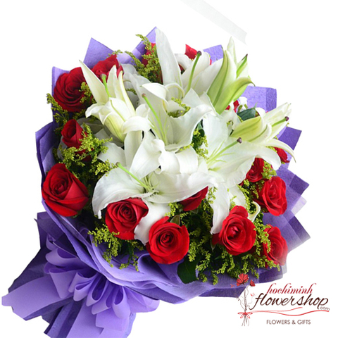 Christmas White Lilies and red rose bouquet