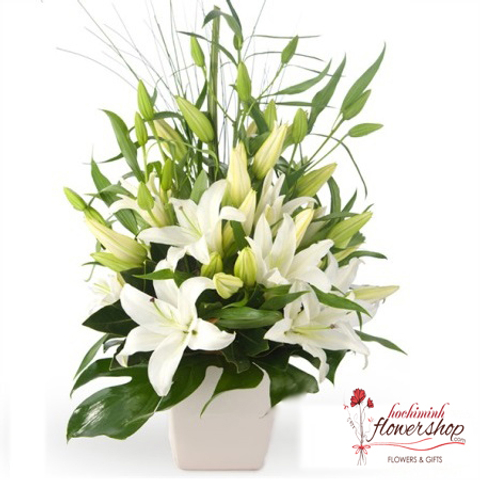 Christmas white lily arrangement
