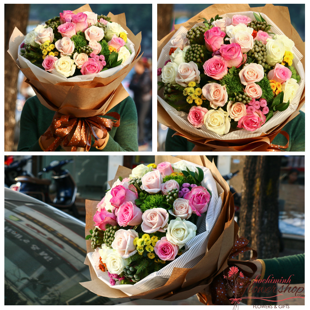 Bouquet flowers for delivery to Hochiminh free ship