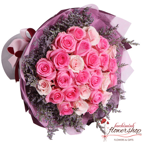 Bouquet of pink roses for deliver to Hochiminh city
