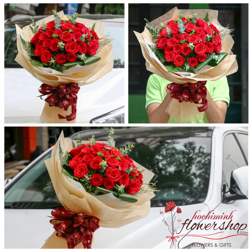 Buy red roses bouquet in Hochiminh