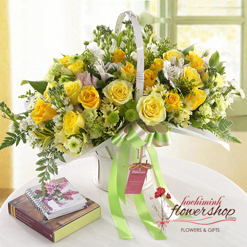 Hochiminh city yellow basket birthday arrangement