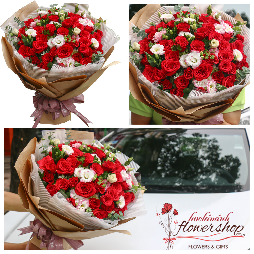 ​Love bouquet of red roses in Hochiminh city free delivery