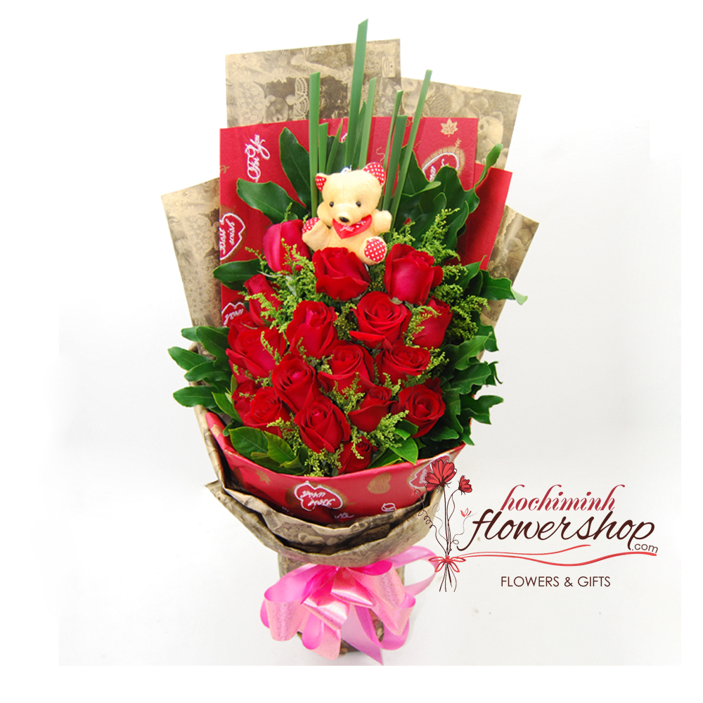 Red rose bouquet delivery in hochiminh