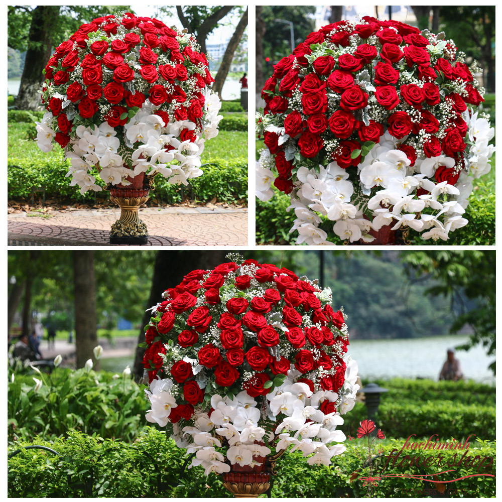 VIP flowers with red roses in HCM city free delivery